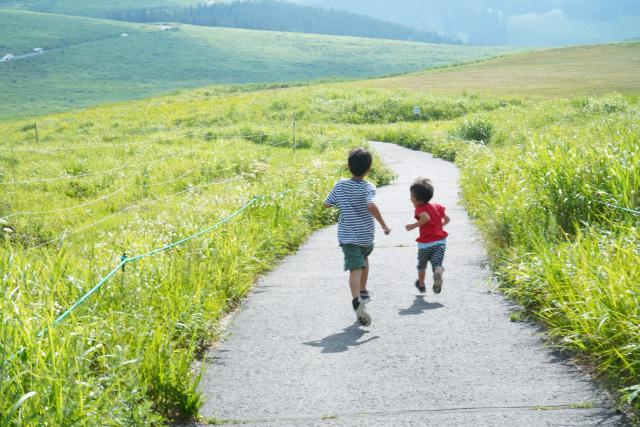 自然の中を走る子供のイメージ